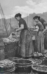Scarborough Harbour, Scottish Fisher Girls at Work